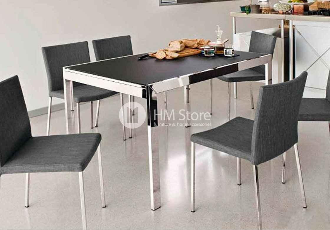 Стол Calligaris Key, Square extending table, Frosted tempered glass extrawhite and Metal chromed