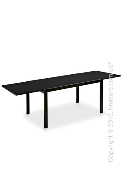 Стол Calligaris Key, Rectangular extending table, Frosted acid etched tempered glass black and Metal matt black
