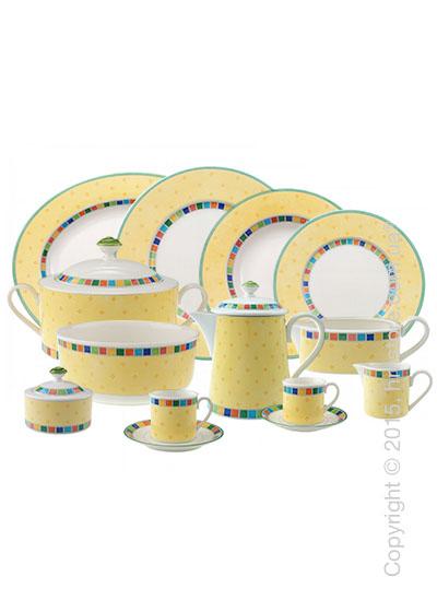 Набор фарфоровой посуды Villeroy & Boch коллекция Twist Alea на 6 персон, 50 предметов, Limone