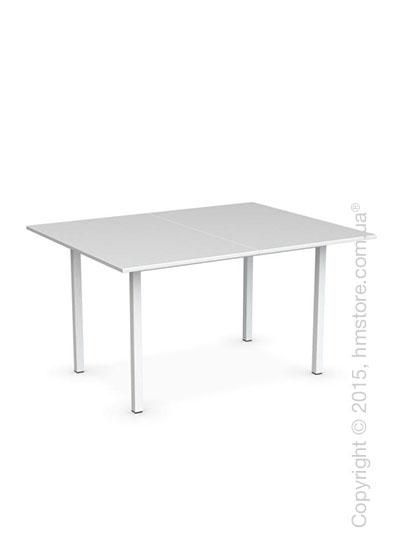 Стол Calligaris Snap Book, Flip top extending table, Melamine multistripe silk and Metal matt optic white