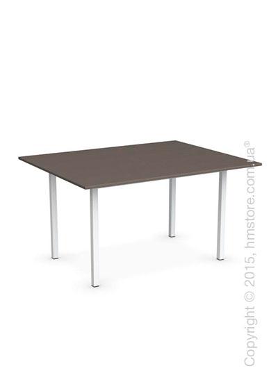 Стол Calligaris Snap Book, Flip top extending table, Melamine multistripe soil brown and Metal matt optic white