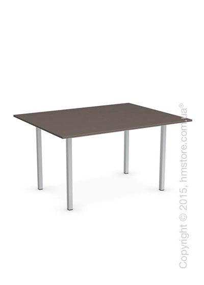 Стол Calligaris Snap Book, Flip top extending table, Melamine multistripe soil brown and Metal satin steel