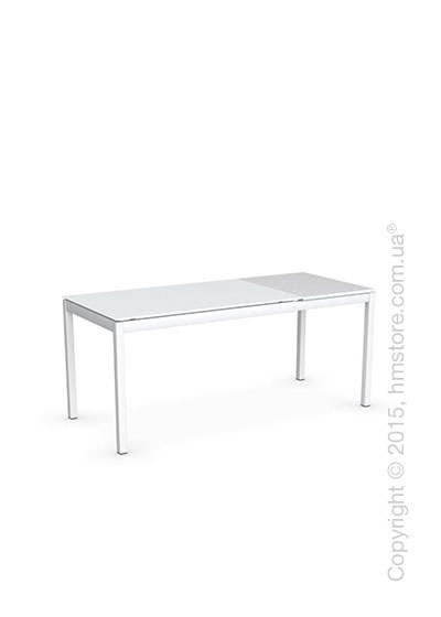 Стол Calligaris Snap S, Rectangular extending table, Frosted tempered glass extrawhite and Metal matt optic white