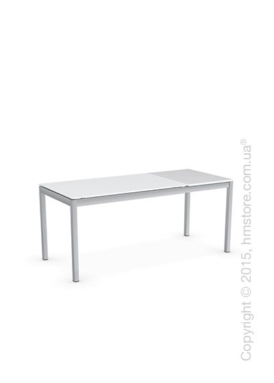 Стол Calligaris Snap S, Rectangular extending table, Frosted tempered glass extrawhite and Metal satin steel