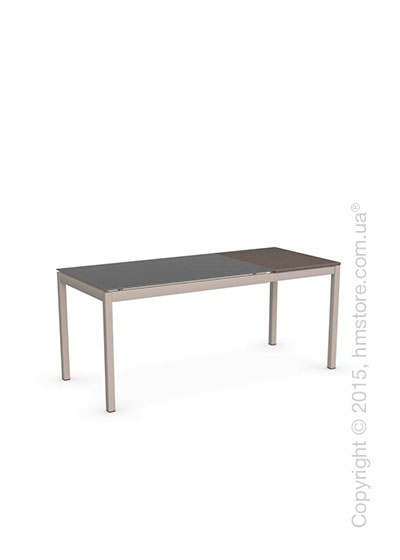 Стол Calligaris Snap S, Rectangular extending table, Frosted tempered glass taupe and Metal matt taupe