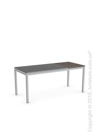 Стол Calligaris Snap S, Rectangular extending table, Frosted tempered glass taupe and Metal satin steel