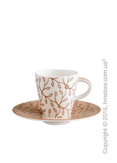 Чашка для эспрессо с блюдцем Villeroy & Boch коллекция Caffè Club Floral 100 мл, Caramel