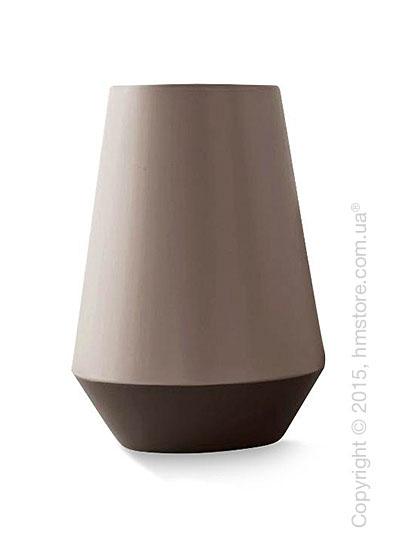Ваза Calligaris Trio L, Ceramic matt black and dark taupe