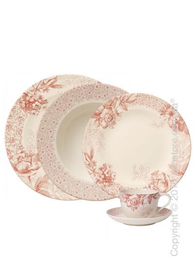 Набор фарфоровой посуды Villeroy & Boch коллекция Floreana на 4 персоны, 20 предметов, Red
