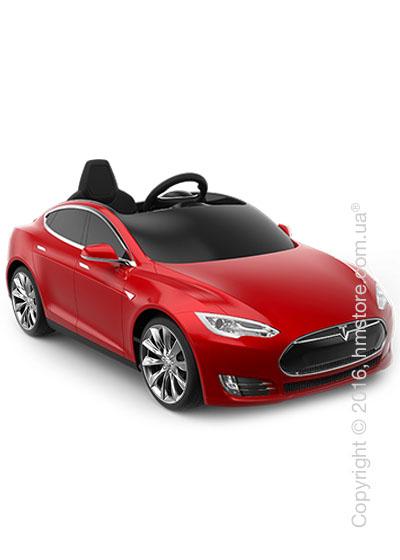 Электромобиль детский Tesla Radioflyer Model S for kids, Silver Turbine Wheels, Red Multi-Coat