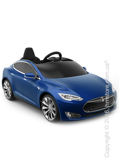 Электромобиль детский Tesla Radioflyer Model S for kids, Silver Turbine Wheels, Deep Blue Metallic