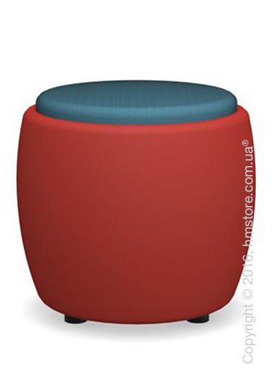 Пуф Calligaris Candy, Plastic matt red and Fabric acquamarine