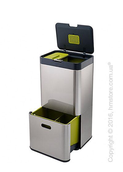 Универсальный контейнер для сортировки мусора Joseph Joseph Intelligent Waste Totem 60 л, Stainless Steel