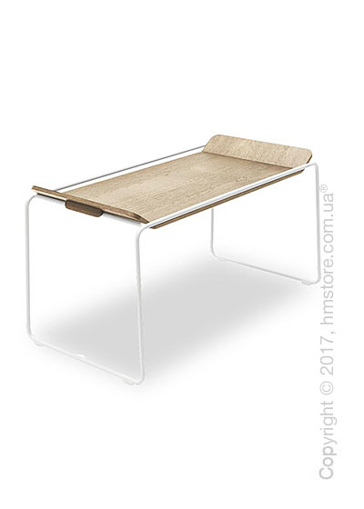 Сервировочный столик Calligaris Filo, Metal matt optic white and Veneer natural oak