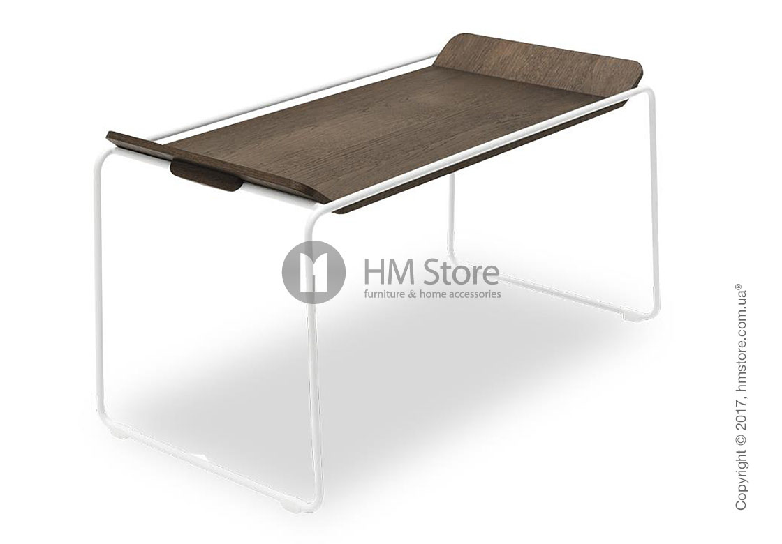 Сервировочный столик Calligaris Filo, Metal matt optic white and Veneer dark oak