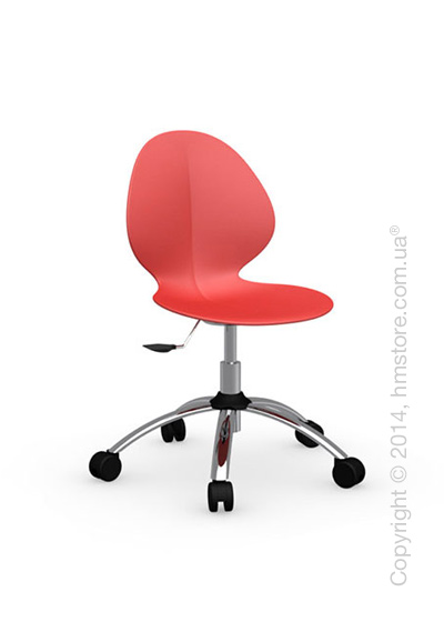 Кресло Calligaris Basil, Metal and plastic swivel chair, Plastic red