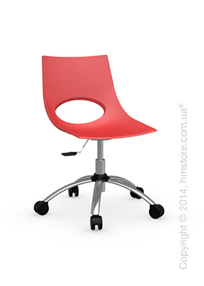 Кресло Calligaris Congress, Swivel chair, Metal satin steel and Plastic red