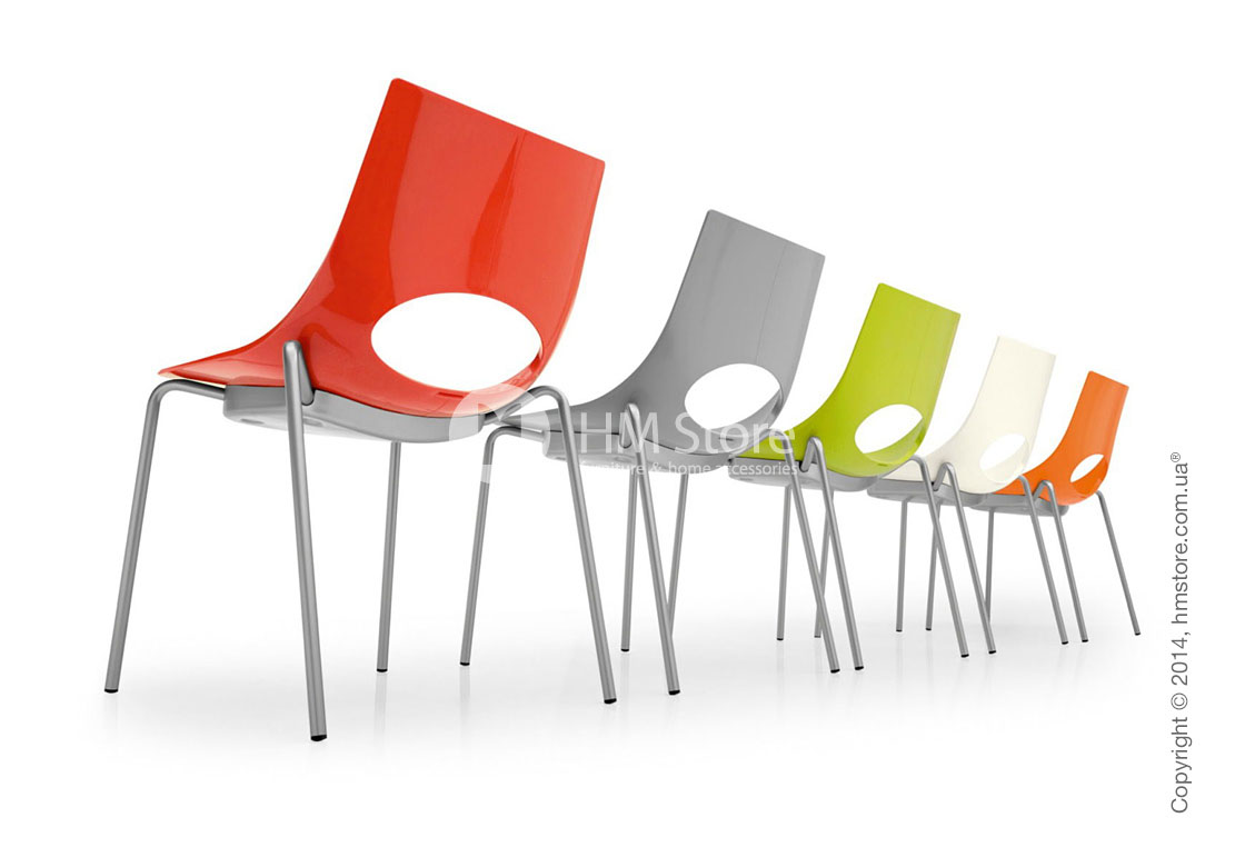 Стул Calligaris Congress, Stackable chair, Metal chromed and Plastic red