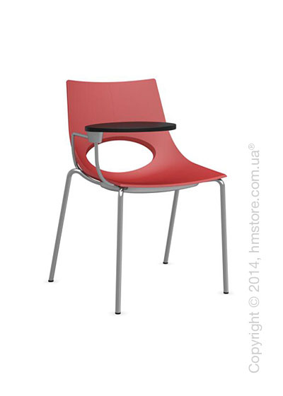 Стул Calligaris Congress, Chair with armrests and writing table, Metal satin steel and Plastic red