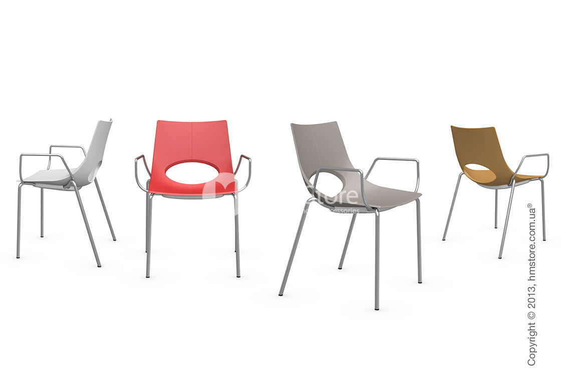 Стул Calligaris Congress, Stackable chair with armrests, Metal satin steel and Plastic red
