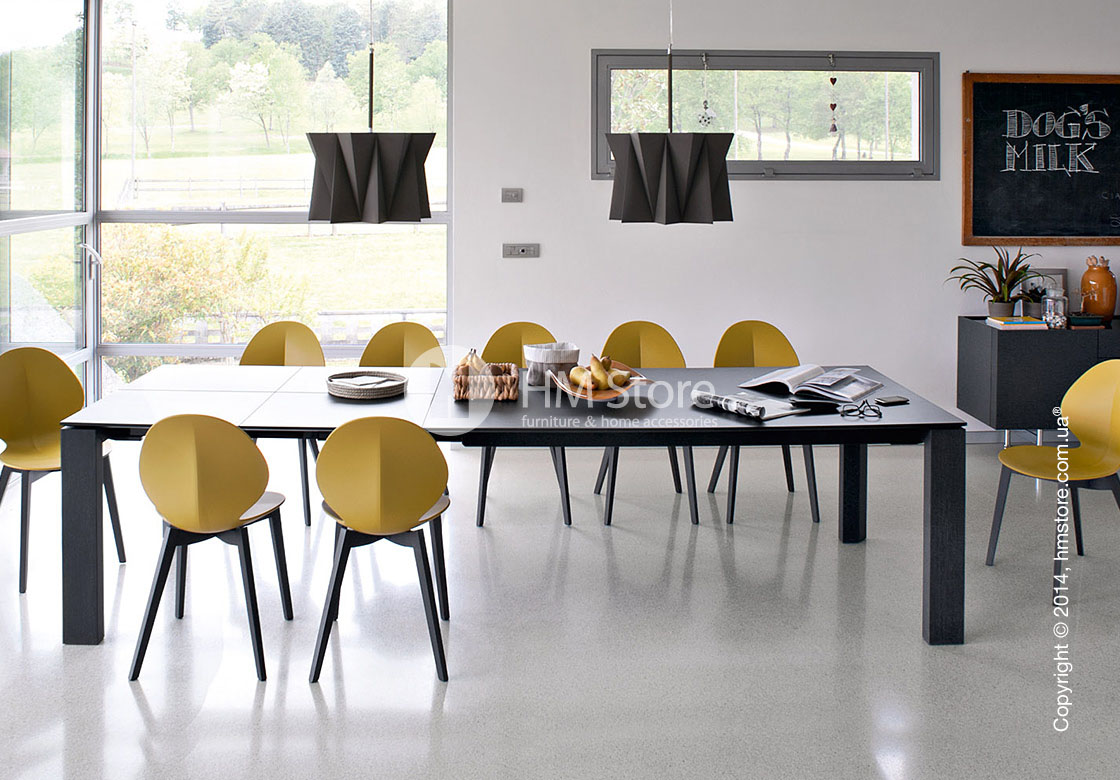 Стул Calligaris Basil, Metal and polypropylene chair, Plastic mustard yellow
