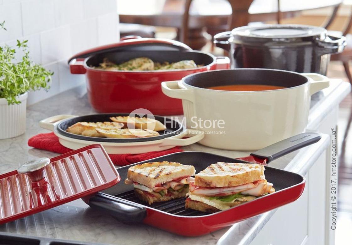 Сковорода чугунная с прессом KitchenAid