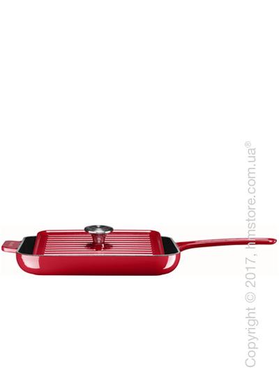 Сковорода чугунная с прессом KitchenAid Grill and Panini 25x25 см, Empire Red