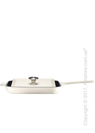 Сковорода чугунная с прессом KitchenAid Grill and Panini 25x25 см, Almond Cream