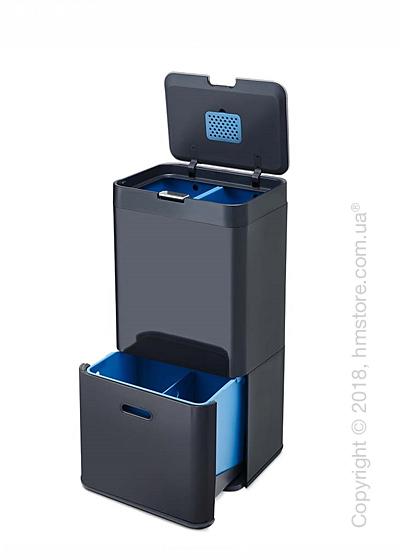 Универсальный контейнер для сортировки мусора Joseph Joseph Intelligent Waste Totem 58 л, Graphite