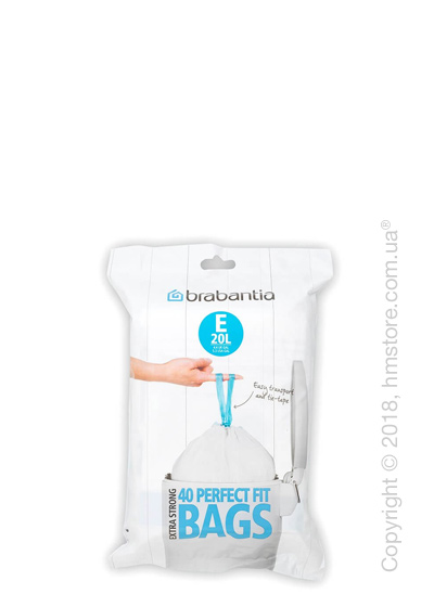 Набор пакетов для мусора Brabantia PerfectFit Bags Code E на 20 л, 40 штук