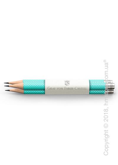 Комплект простых карандашей Graf von Faber-Castell 3 Pocket Pencils Guilloche, Turquoise