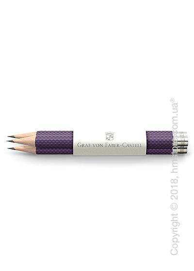 Комплект простых карандашей Graf von Faber-Castell 3 Pocket Pencils Guilloche, Violet Blue