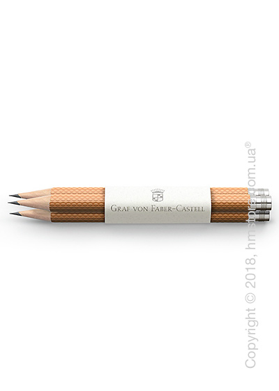 Комплект простых карандашей Graf von Faber-Castell 3 Pocket Pencils Guilloche, Cognac Brown