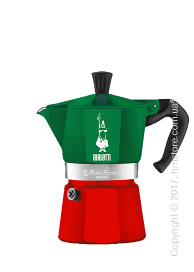 Кофеварка гейзерная Bialetti Moka Express Italia на 3 чашки, Red and Green