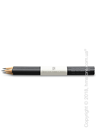 Комплект простых карандашей Graf von Faber-Castell 3 Graphite Pencils Guilloche, Black