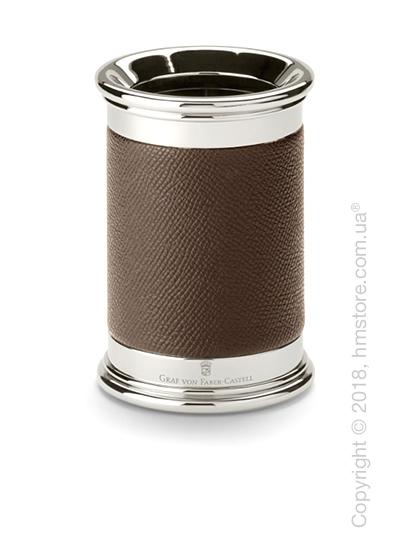Подставка для ручек круглой формы Graf von Faber-Castell, Dark Brown Grained Leather