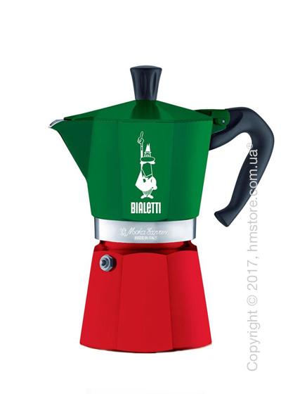 Кофеварка гейзерная Bialetti Moka Express Italia на 6 чашек, Red and Green