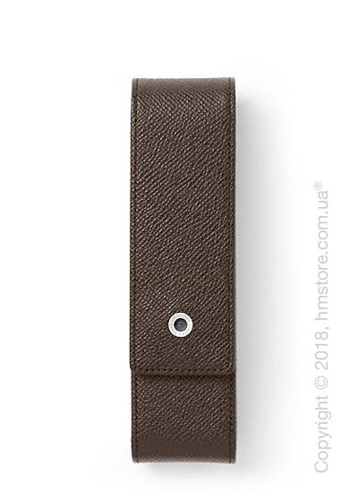 Кожаный пенал для ручек Graf von Faber-Castell Standard Case For 2 Pens Epsom, Dark Brown Grained Leather