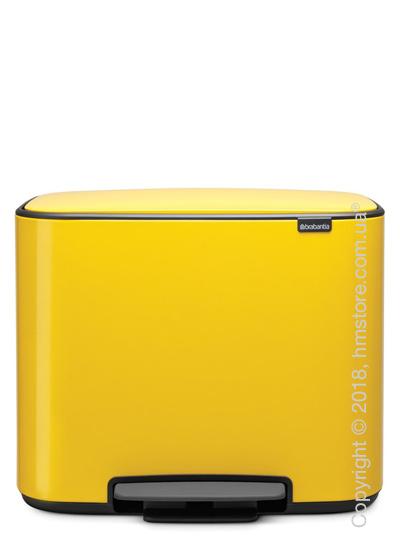 Ведро для сортировки мусора двухсекционное Brabantia Bo Pedal Bin 11/23 л, Daisy Yellow