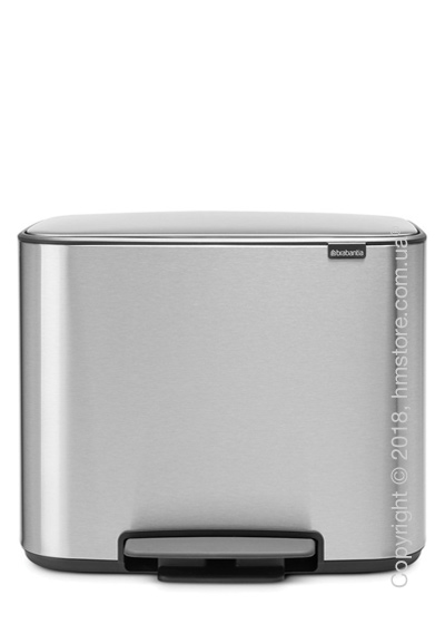 Ведро для сортировки мусора двухсекционное Brabantia Bo Pedal Bin 11/23 л, Matt Steel Fingerprint Proof