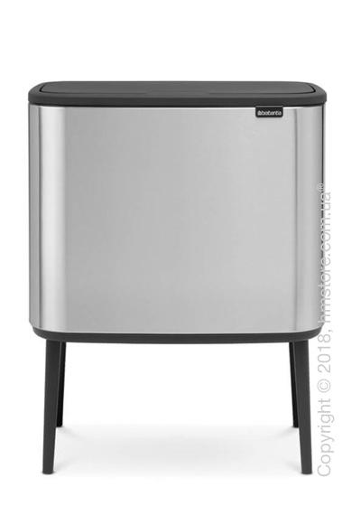 Ведро для сортировки мусора двухсекционное Brabantia Bo Touch Bin 11/23 л,  Matt Steel Fingerprint Proof