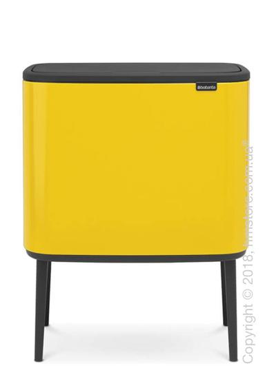 Ведро для сортировки мусора трехсекционное Brabantia Bo Touch Bin 11/11/11 л, Daisy Yellow