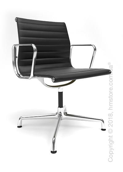 Кресло Vitra Aluminium Chair EA 103, Leather Nero