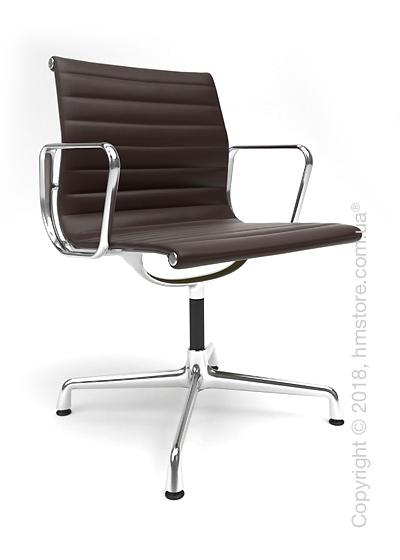 Кресло Vitra Aluminium Chair EA 103, Leather Chocolate Brown