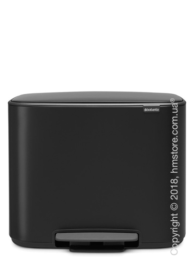 Ведро для сортировки мусора двухсекционное Brabantia Bo Pedal Bin 11/23 л, Matt Black