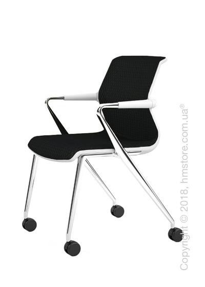 Кресло Vitra Unix Chair four-legged base with castors soft grey frame, Diamond Mesh Nero
