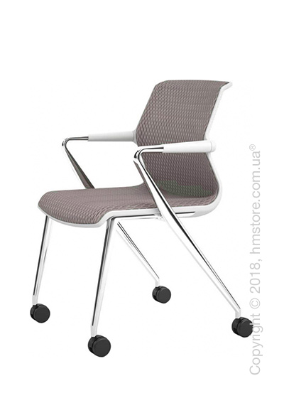 Кресло Vitra Unix Chair four-legged base with castors soft grey frame, Diamond Mesh Mauve Grey