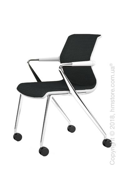 Кресло Vitra Unix Chair four-legged base with castors soft grey frame, Diamond Mesh Asphalt