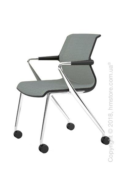 Кресло Vitra Unix Chair four-legged base with castors dark frame, Diamond Mesh Ice Grey
