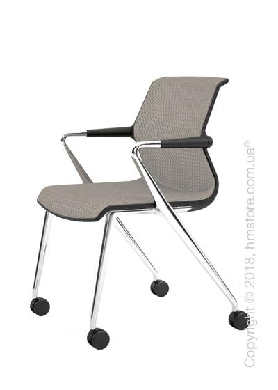 Кресло Vitra Unix Chair four-legged base with castors dark frame, Diamond Mesh Soft Grey